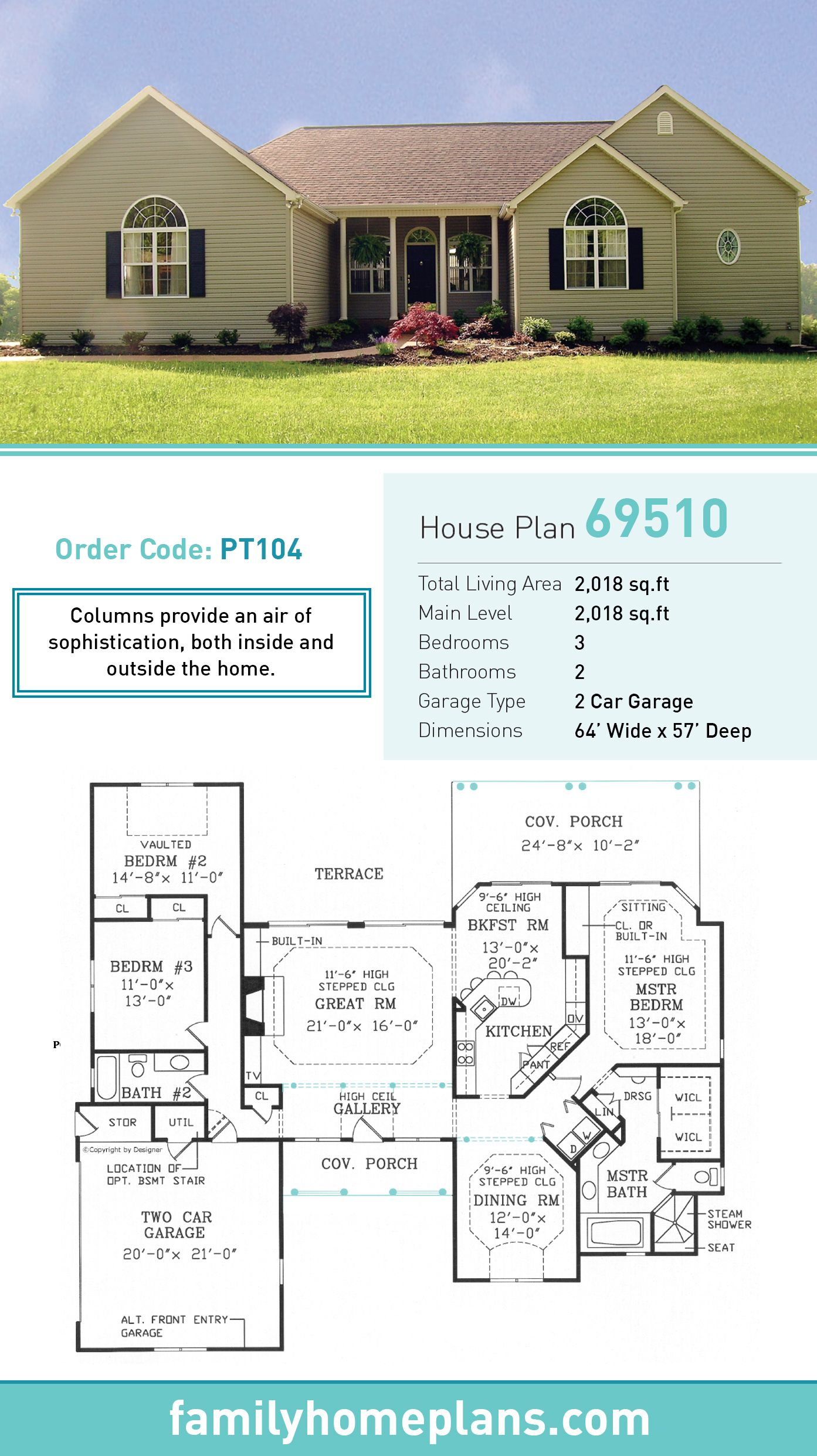 European Style House Plan 69510 with 3 Bed, 2 Bath, 2 Car ... on european duplex house plans, brick ranch style house plans, cottage style ranch house plans, european cottage home plans, european country house plans,