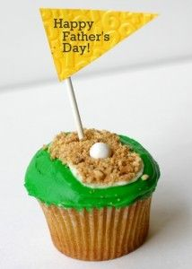 Golf cupcakes  Made these for Dad's Birthday. Super easy. Hard time finding the white gum balls and I did all green frosting with graham cracker crumbs