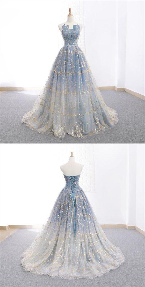 Elegant Strapless Sleeveless Long Prom Dresses A Line Evening Dresses