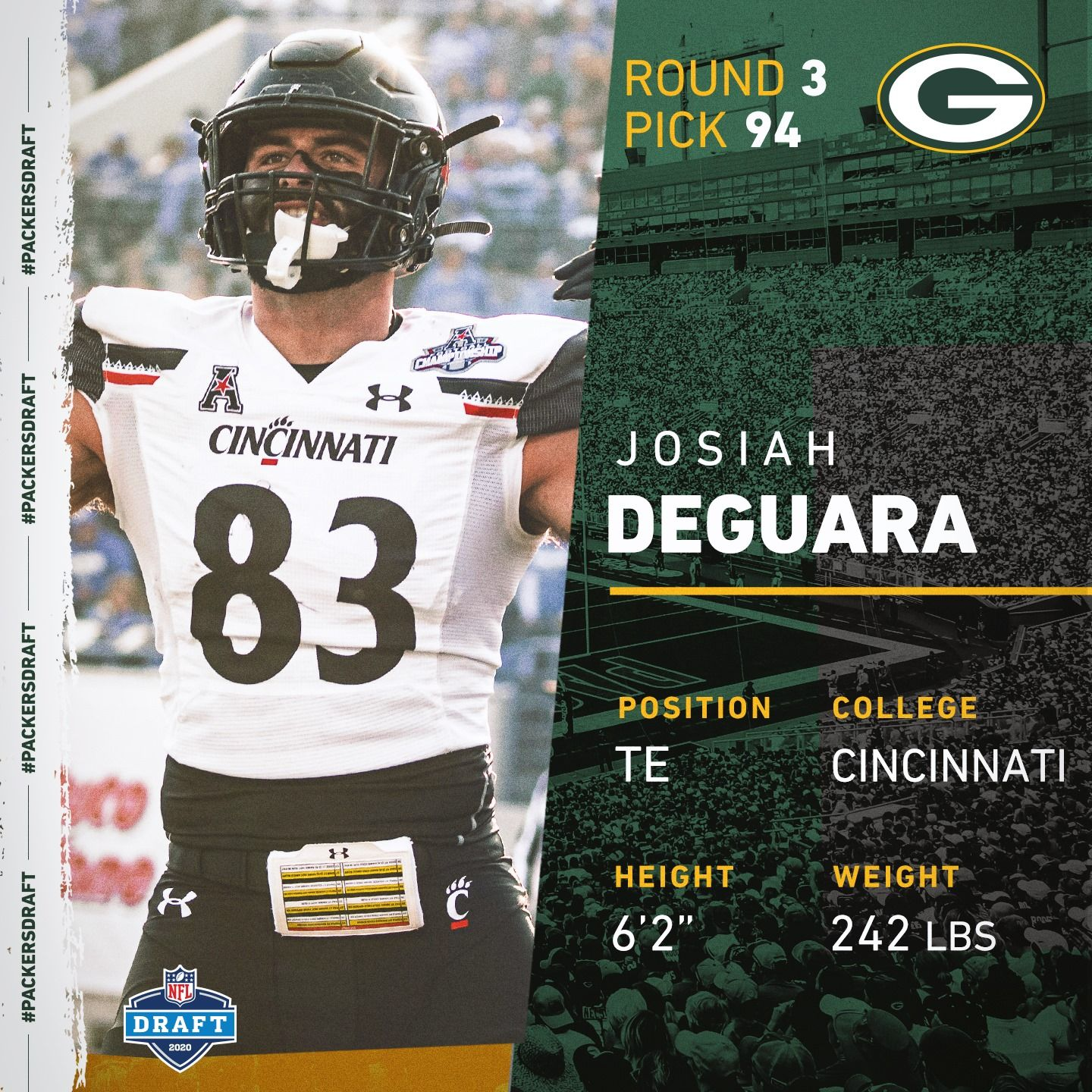 Te Josiah Deguara In 2020 Nfl Draft Cincinnati Packers