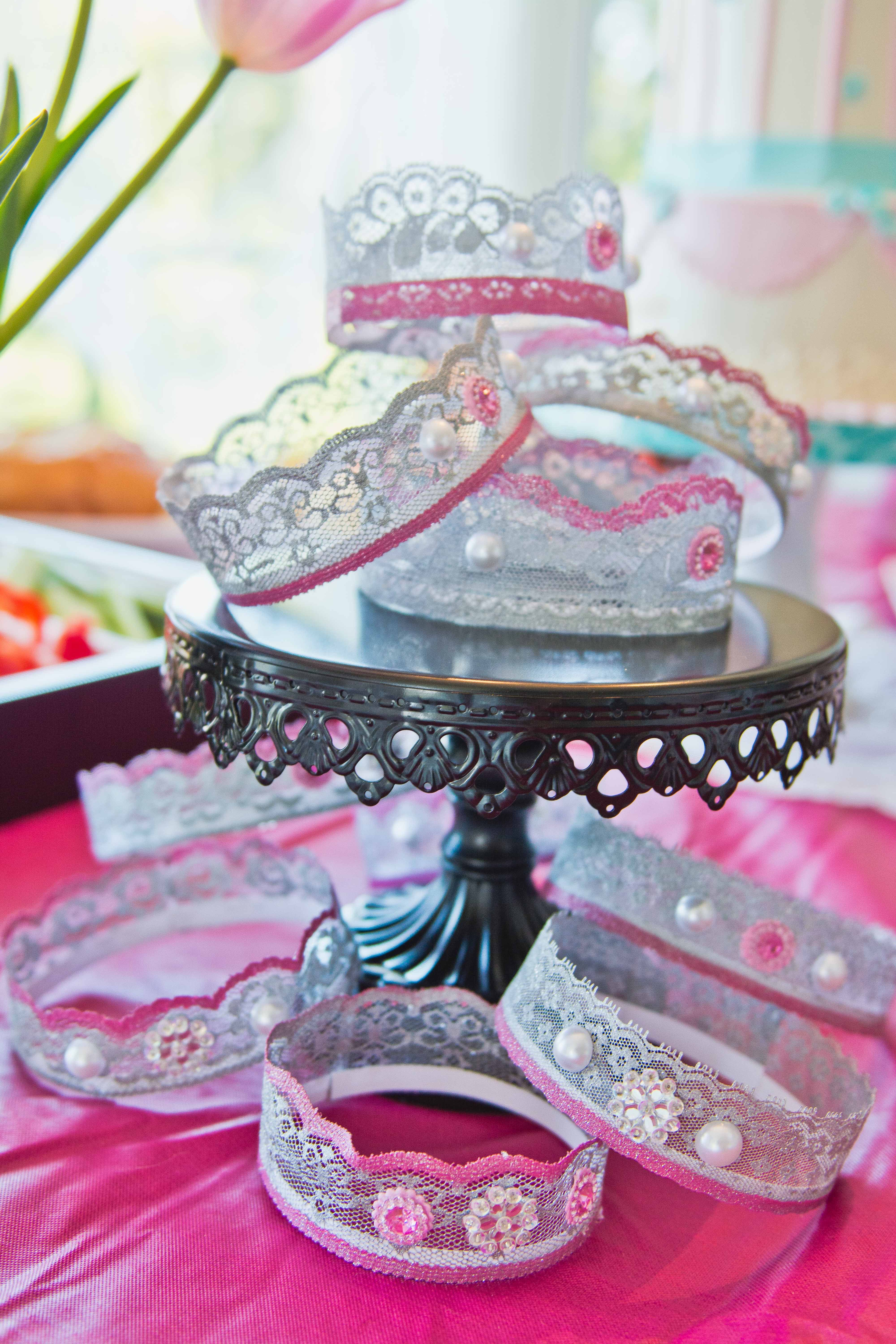 Lace crowns. Princess Birthday Party. | Party Ideas | Pinterest