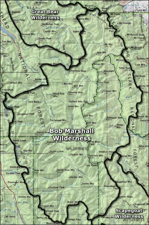 Bob Marshall Wilderness Map Bob Marshall Wilderness. As directed by the Wilderness Act of 1964