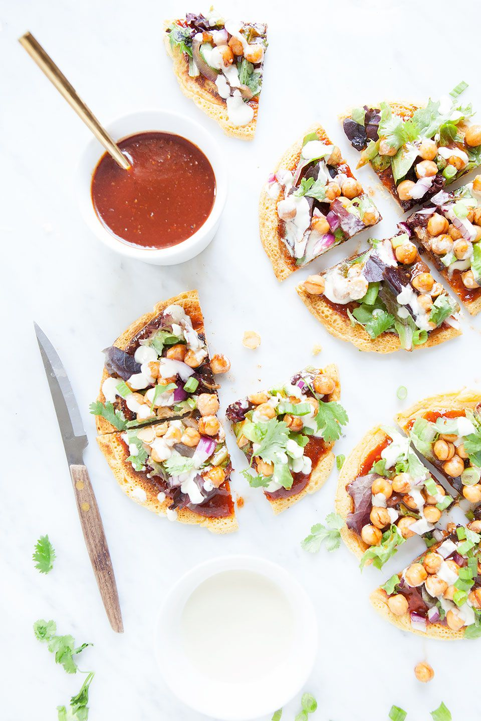 Barbecue Chickpea Socca Salad Pizza with Vegan Ranch Dressing is a delicious gluten free, dairy free, and vegan pizza. Perfect for summer!   Vegan, gluten free  and vegetarian.   Click for healthy recipe.   Via Loveleaf Co.  http://www.loveleafco.com/socca-salad-pizza/