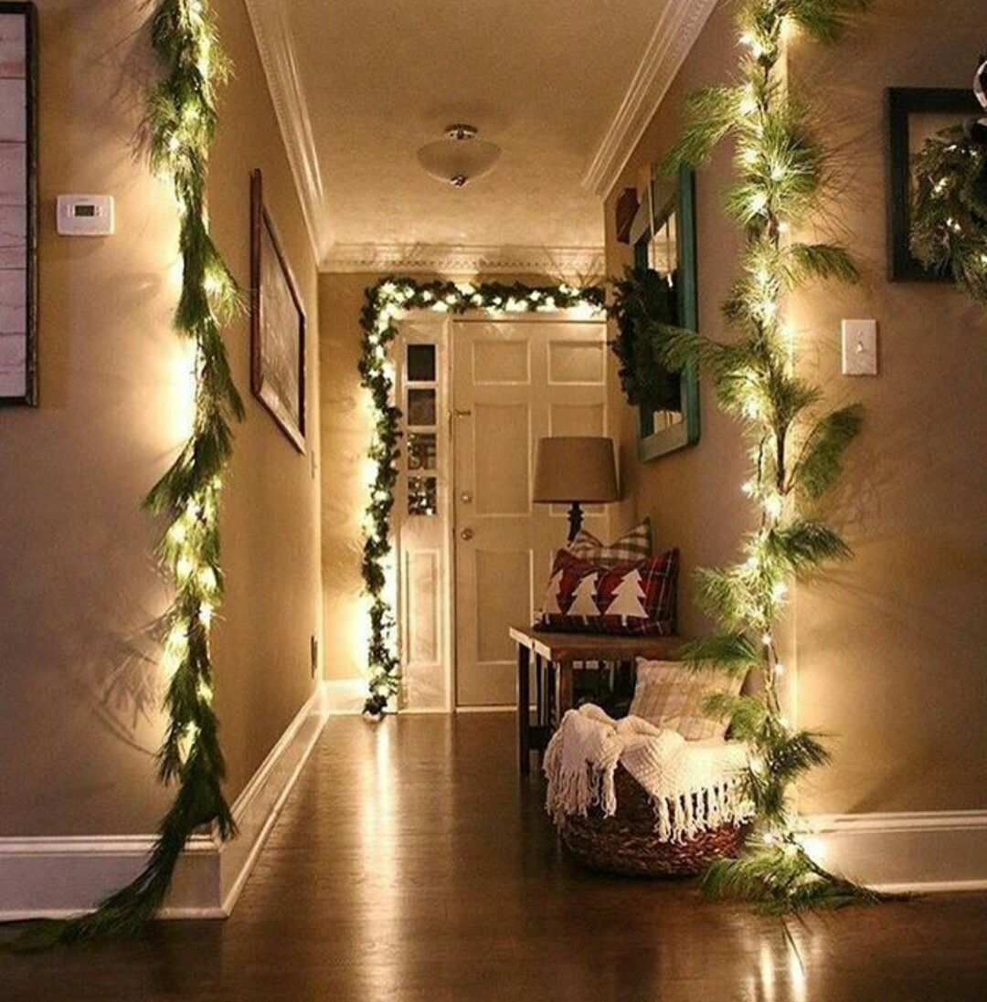 Winter Christmas house decoration ideas. Pine garland with
