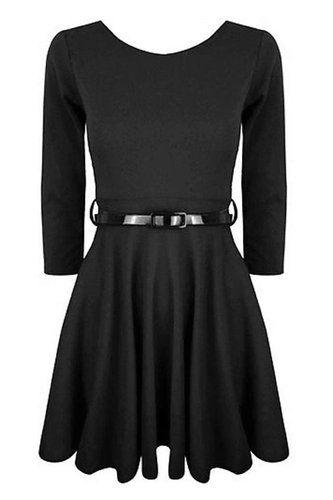 Womens Ladies Sleeveless Pleated Belted Flared Franki Mini Skater Dress Top