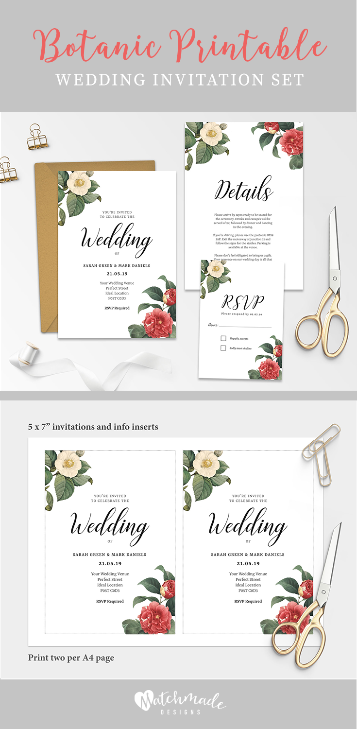 A Floral Botanic Printable Wedding Invitation Template Ready To Be