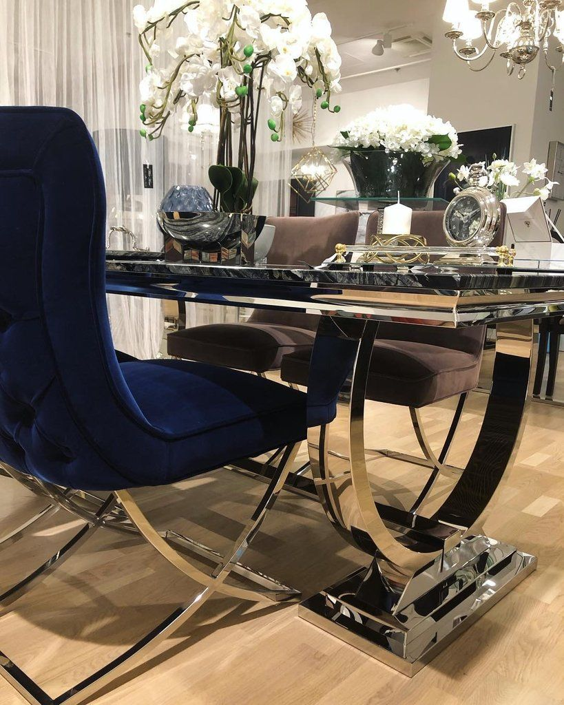 Aries Buttoned Velvet And Chrome Dining Chair In Royal Blue Hos Home Mirrored Furniture Affordable Luxury Dining Table Dining Room Blue Dining Chairs