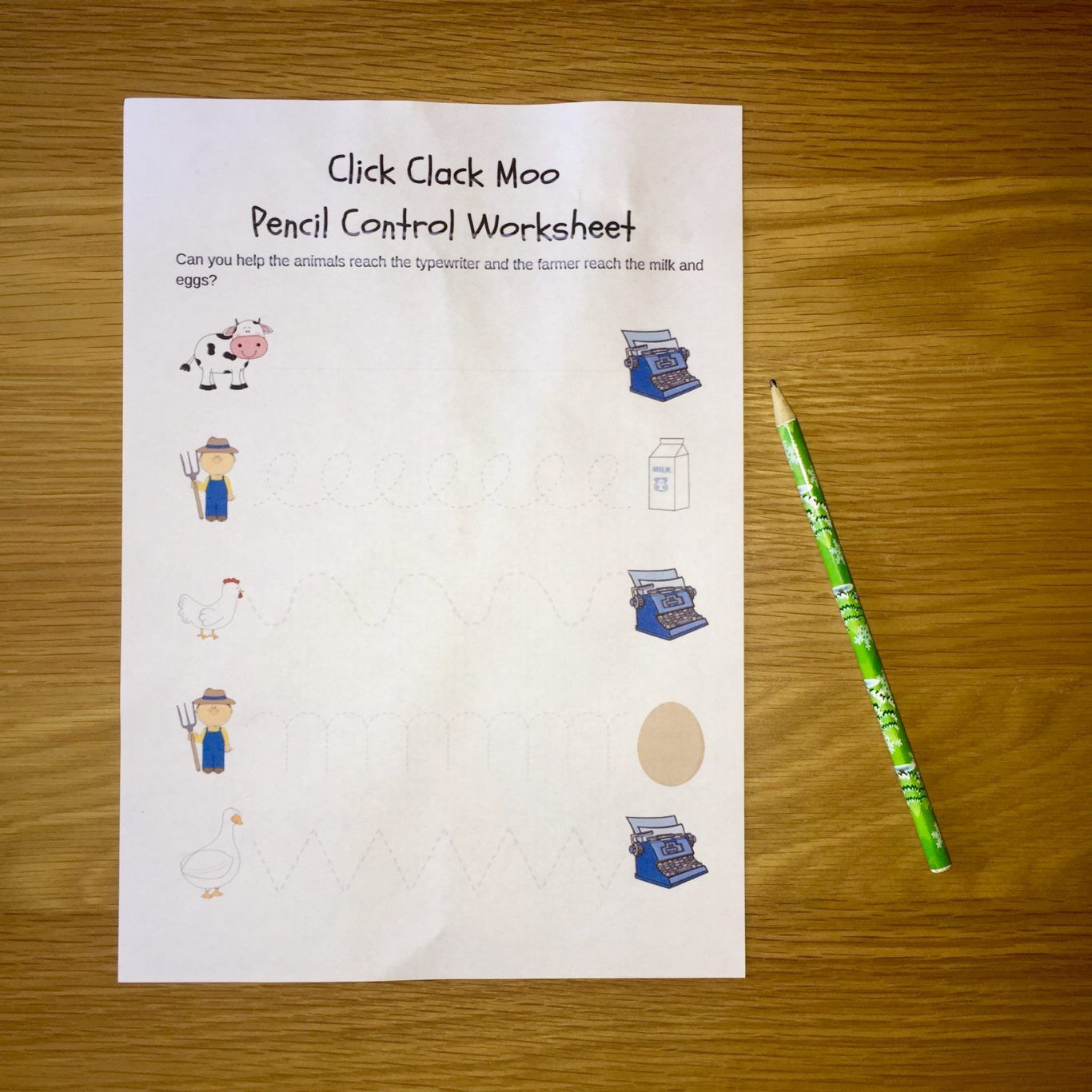 Click Clack Moo Pencil Control Printable