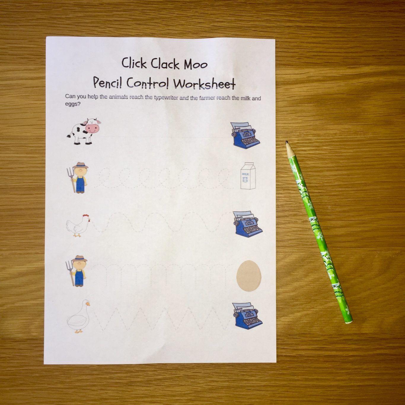 Click Clack Moo Pencil Control Printable