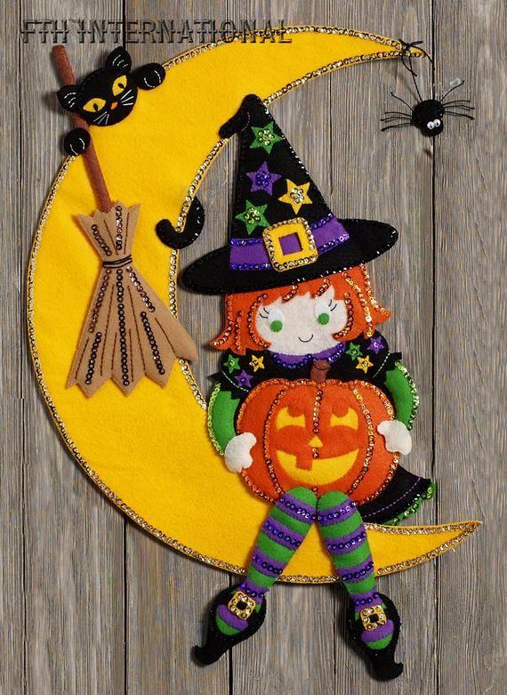 Bucilla Witching Moon Felt Halloween Wall Hanging Kit 86829 Brand New 2017 Pattern This Is Ju Felt Halloween Halloween Crafts Diy Halloween Decorations