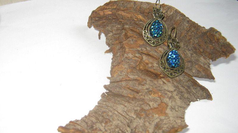 Ohrringe Bronze chandelliers glitzer,ab von Elbengard auf DaWanda.com
