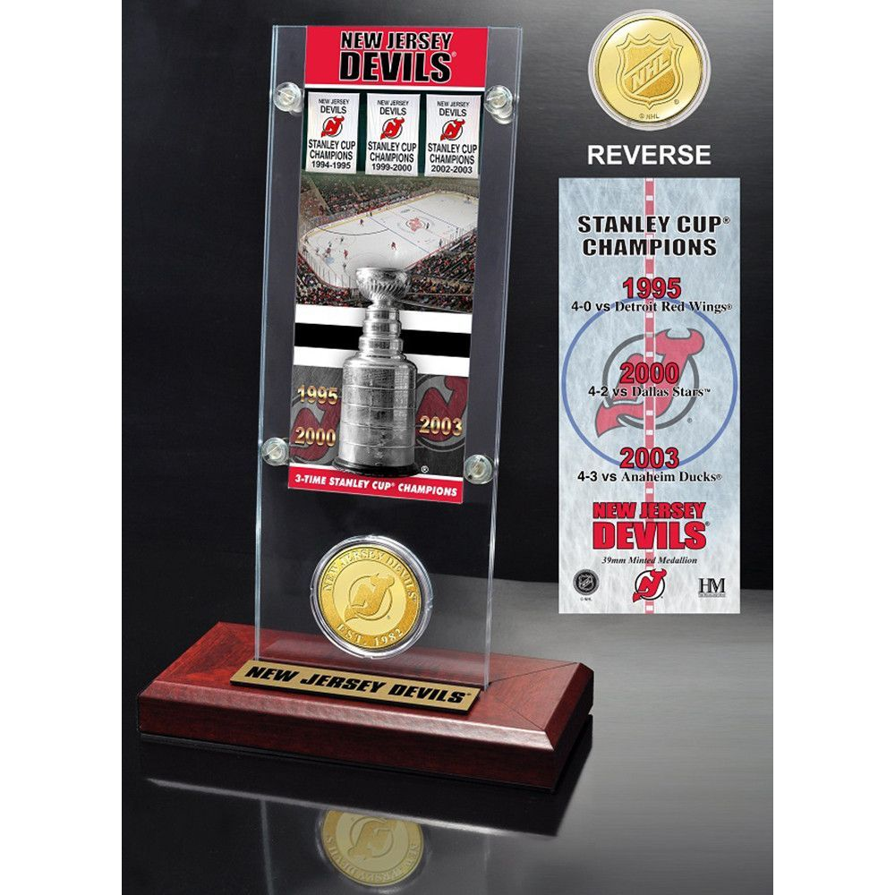 New Jersey Devils 3x Stanley Cup Champions Ticket And Bronze Coin Acrylic Display Stanley Cup Champions Bronze Coin Toronto Maple Leafs