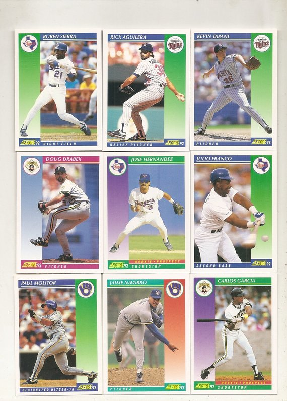 415 Old Vintage 1992 Score Baseball Picture Cards In 2019 Products