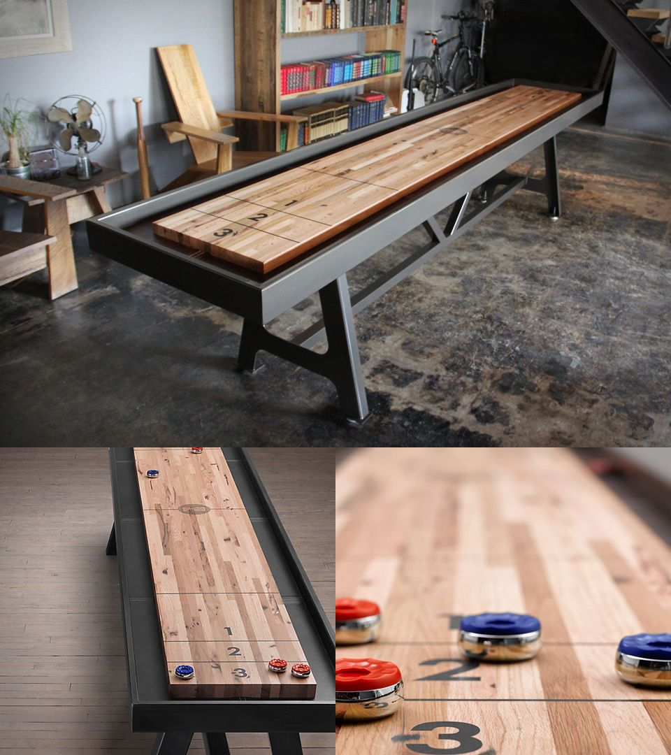 Constructed From Reclaimed Oak District Mfg S Playing Surfaces Are Unique And Custom Manufactured One At A Tim Shuffleboard Table Shuffleboard Decor