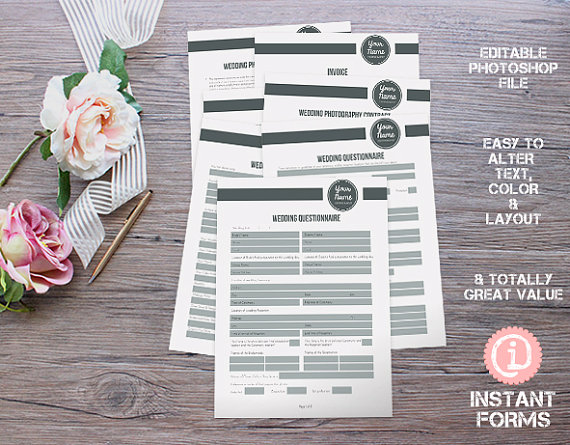Wedding photography forms and contracts and by instantforms explore wedding questionnaire and more stopboris Images