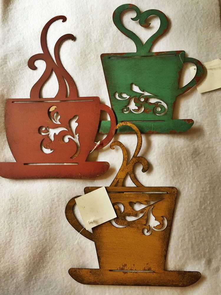 Set Of 3 Rusty Tin Metal Coffee Mug Cup Home Decor Wall Hanging Art Rustic Ebay Coffee Wall Decor Wall Hanging Coffee Cups