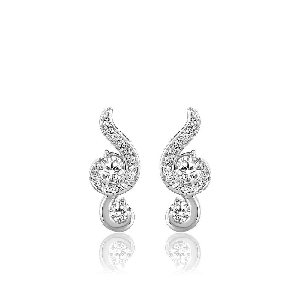 10k White Gold Two Stone Diamond Danglers Love Friendship Stud Earrings 1 2 Ct