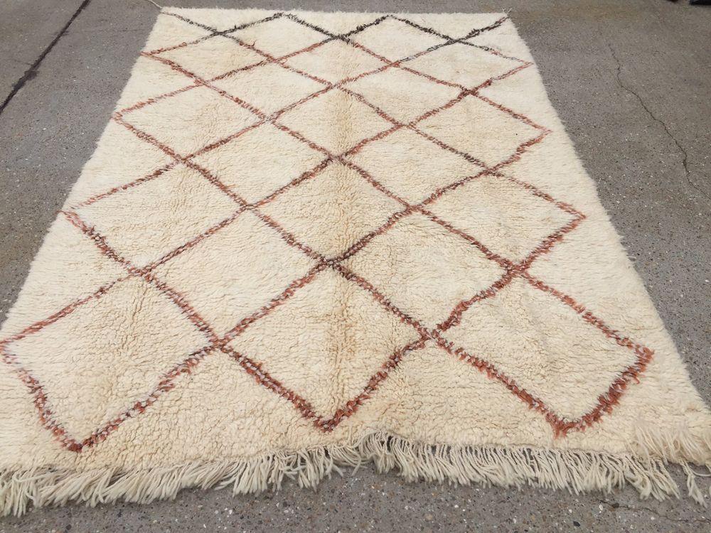 Unusual Large Beni Ourain Moroccan Rug 275x168cm Carpet Atlas Berber Uk