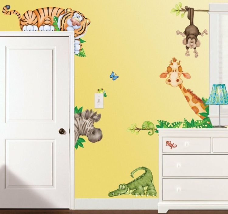 wandgestaltung im kinderzimmer tiere im babyzimmer. Black Bedroom Furniture Sets. Home Design Ideas