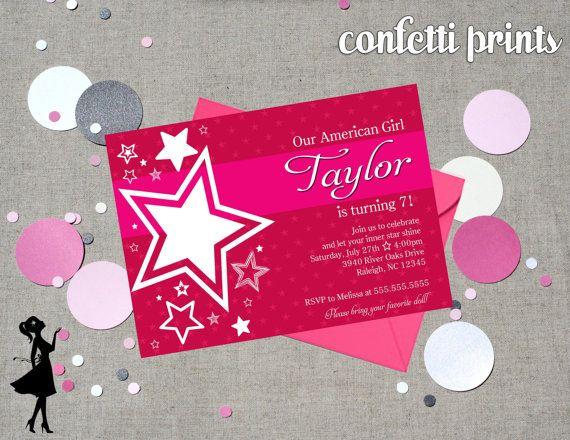 american girl birthday invitation printable by confettiprintsshop, Birthday invitations