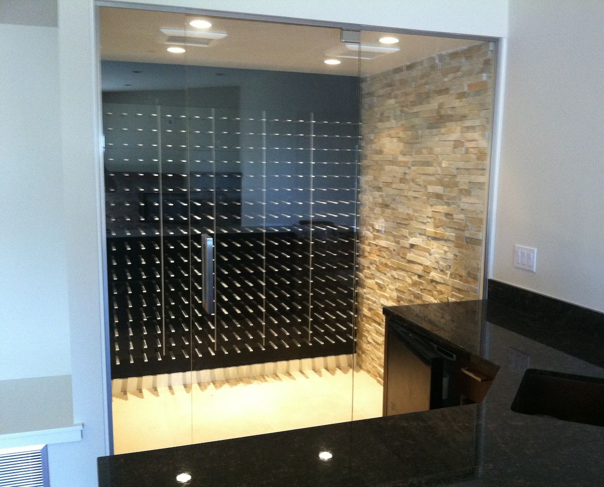 Glass enclosed wine cellar - Glass Enclosed Wine Cellar With The Stact Modular Wine Wall System Laguna Niguel