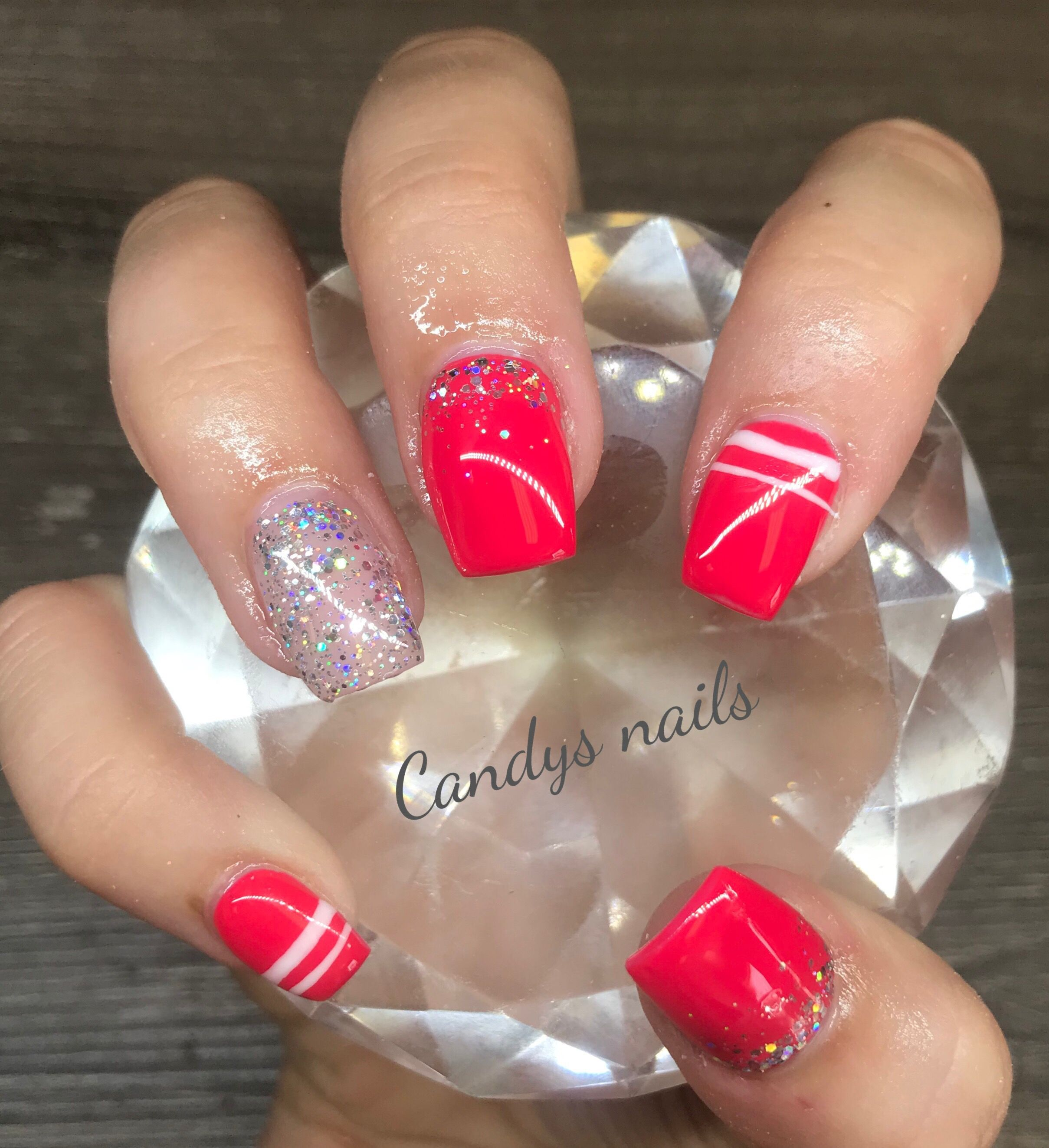 Red  silver design acrylic nails also all things beauty by me rh pinterest