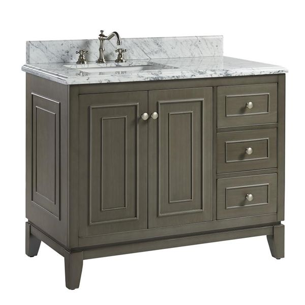 Shop Moorefield Lavinia Antique Gray 42.13 Undermount Single sink Bathroom  Vanity with Natural marble Top at Lowe's Canada. Find our selection of  bathroom ... - Shop Moorefield Lavinia Antique Gray 42.13 Undermount Single Sink