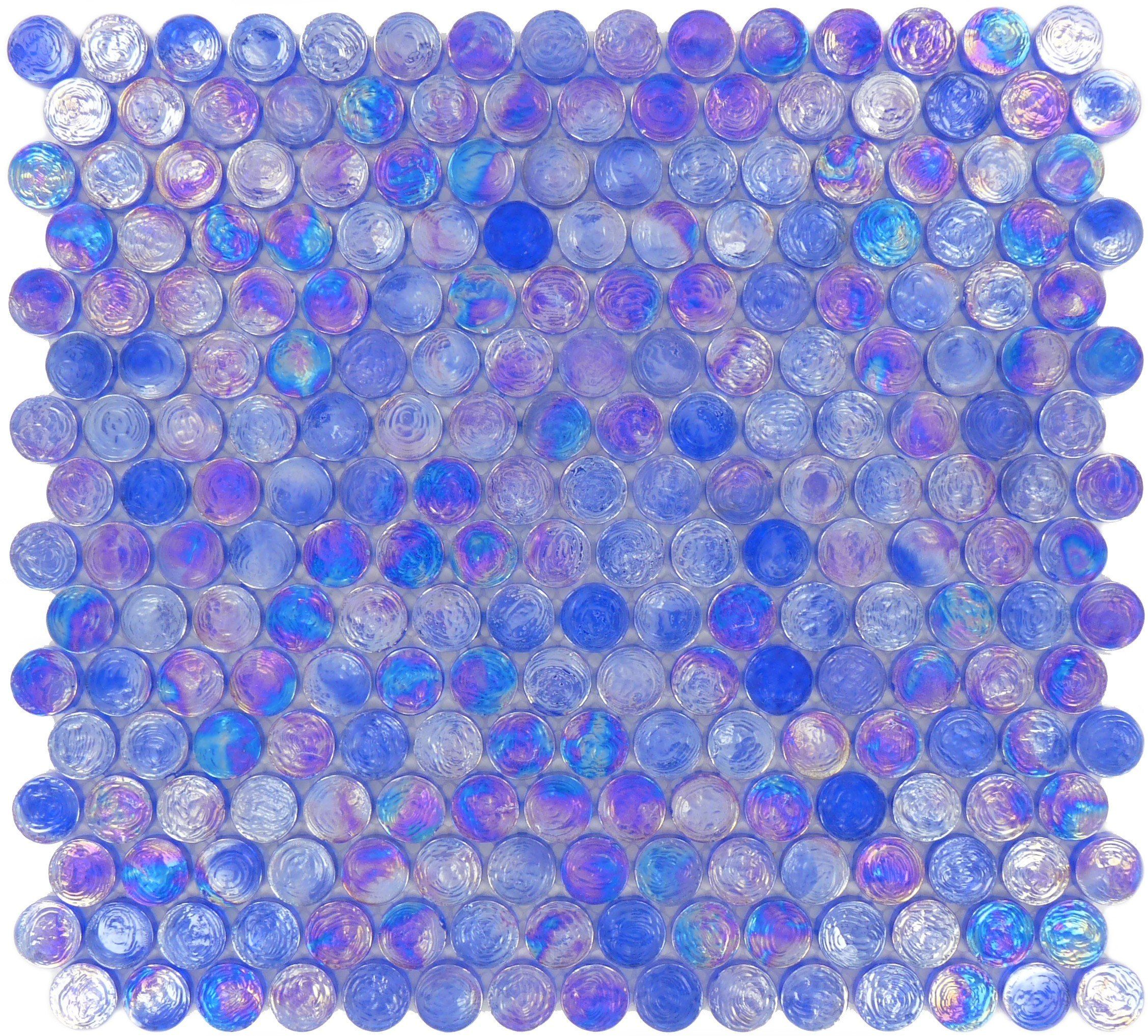Circles Blue Glass Penny Circle Tile Glossy Iridescent Imc20 07 Iridescent Tile Penny Round Tiles Tiles
