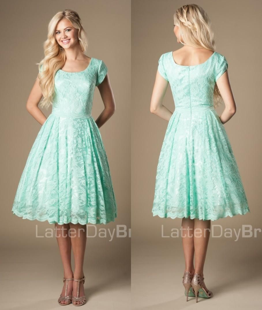 Vintage lace knee length mint short modest bridesmaid dresses with vintage lace knee length mint short modest bridesmaid dresses with cap sleeves round neck 2016 new ombrellifo Image collections