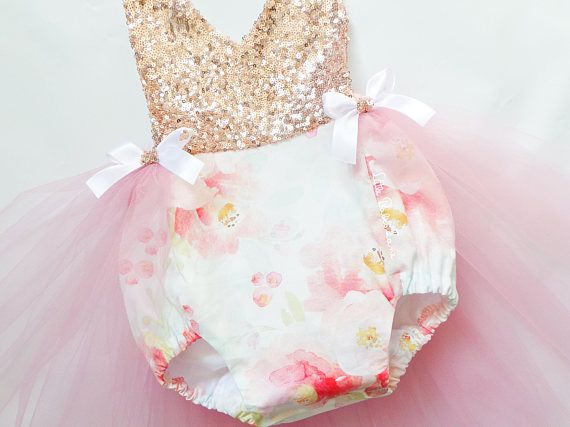 8d583aab5e11 Peonie Watercolor Rose Gold Sequin Romper   Baby Romper