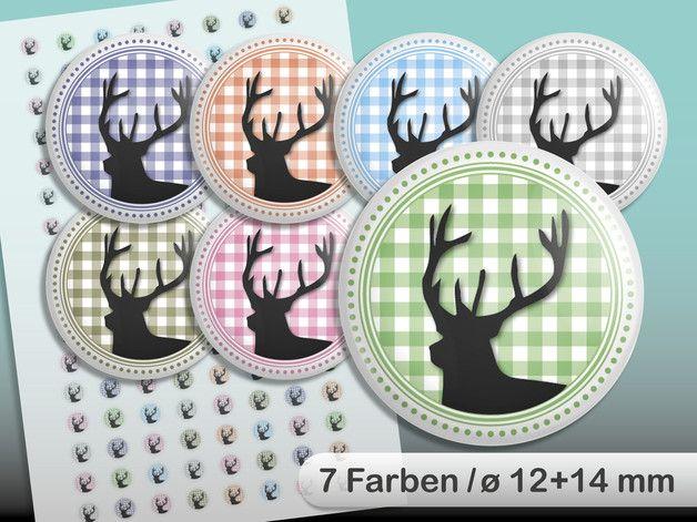 """Digital Collage Sheet. Bavarian, Deer, Oktoberfest, 7 different colours. 128 printable images, size 12 and 14 mm. Digitale Button- oder Cabochon-Vorlage  """"Hirsch Oktoberfest in 7 Farben (insgesamt 128 Stück) auf einer A4-Seite. ø 12 und 14 mm"""