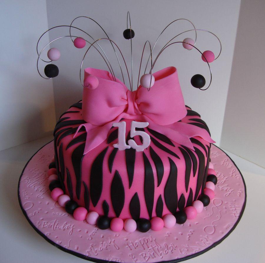 Girls Zebra Fondant Birthday Cake Ideas