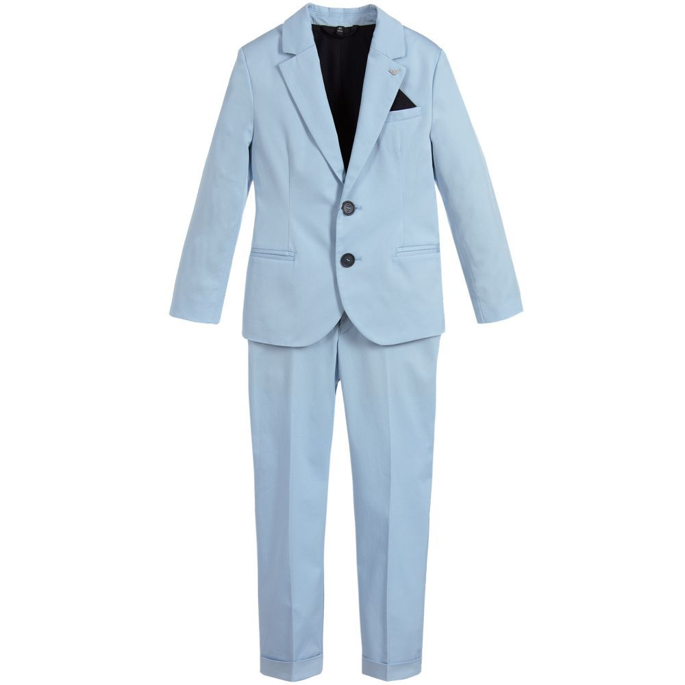 2a5ca7d786e4 Boys 2 Piece Blue Cotton Suit for Boy by Armani Junior. Discover the latest  designer Suits for kids