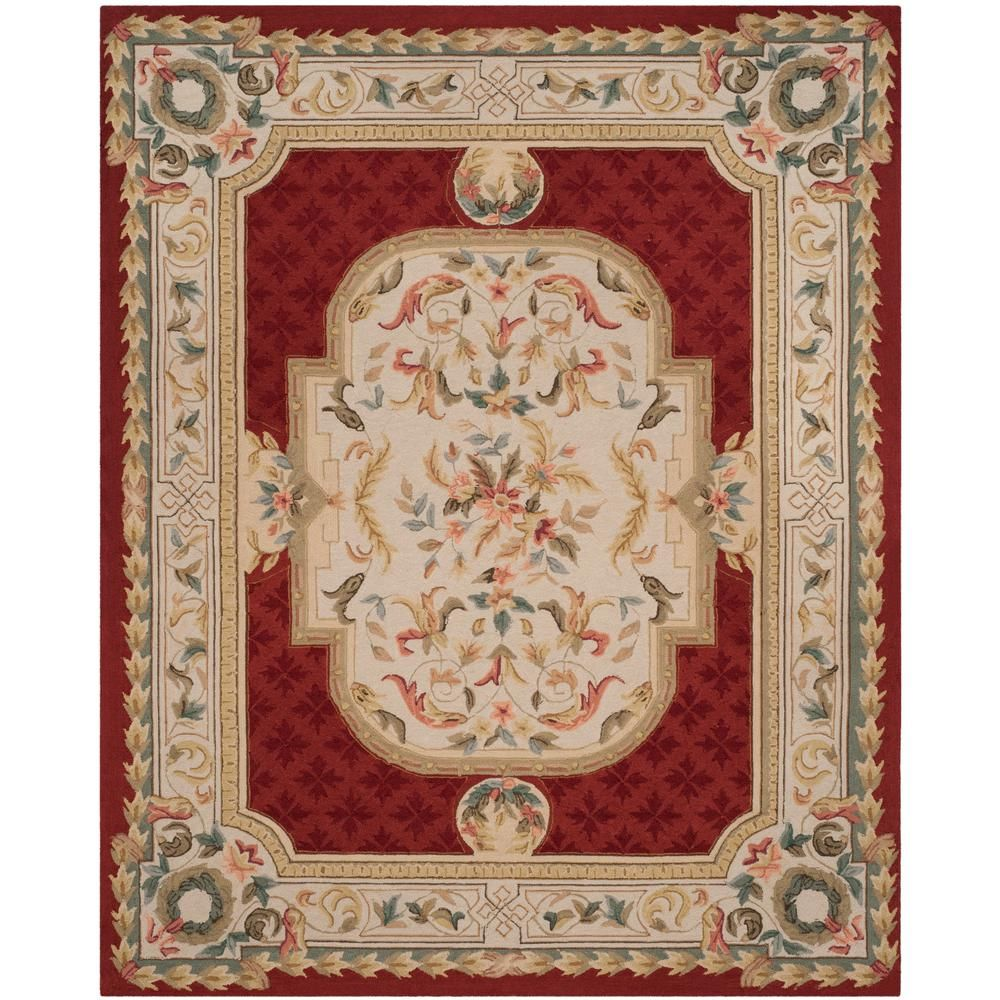 Safavieh Easy Care Ivory Red 9 Ft X 12 Ft Area Rug Red Rugs Area Rugs Floral Area Rugs