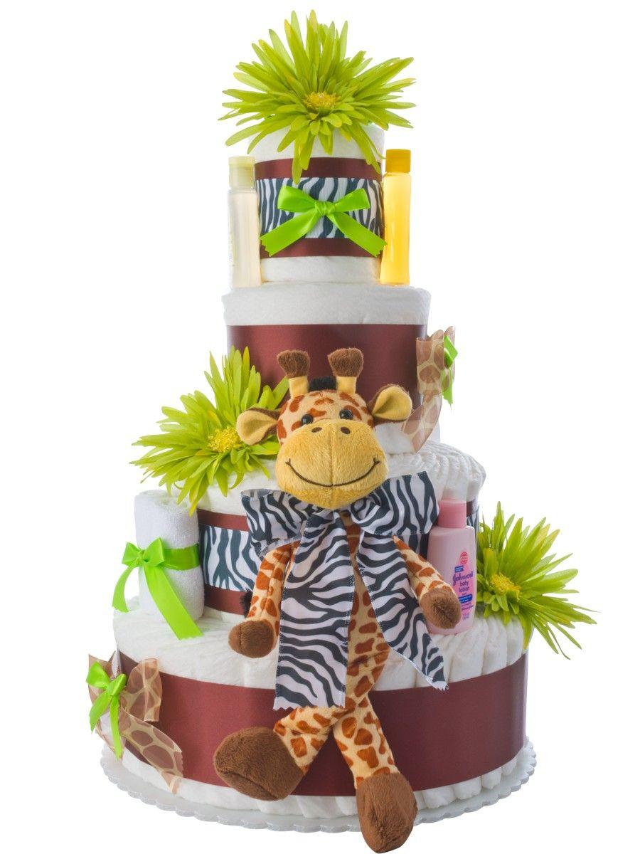 4 tier safari giraffe diaper cake baby boy cakes baby