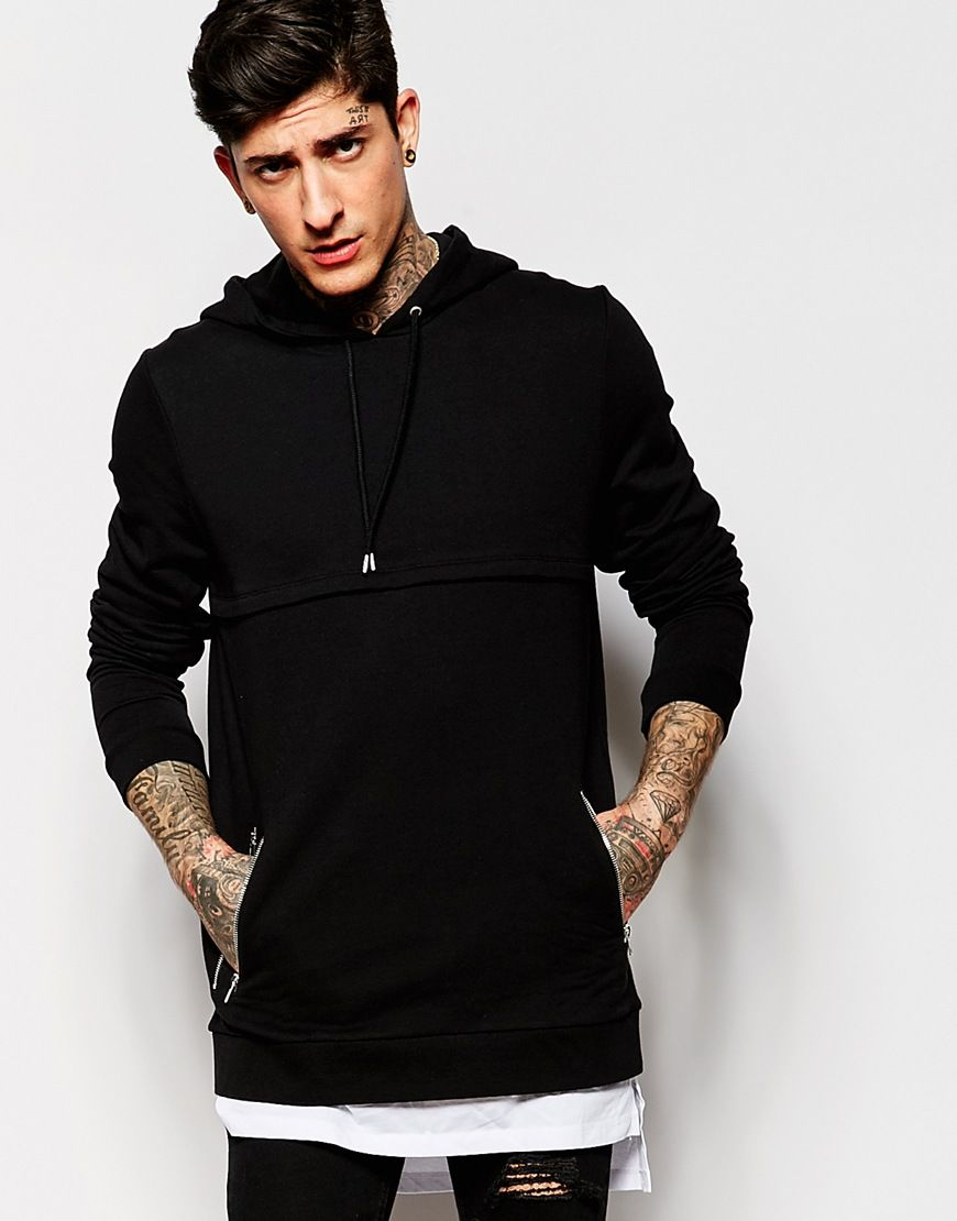 ASOS Super Longline Hoodie With Extended T-Shirt Hem & Double Zip Pockets