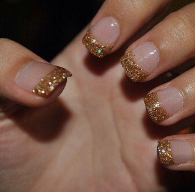 bronze glitter tips nails gold