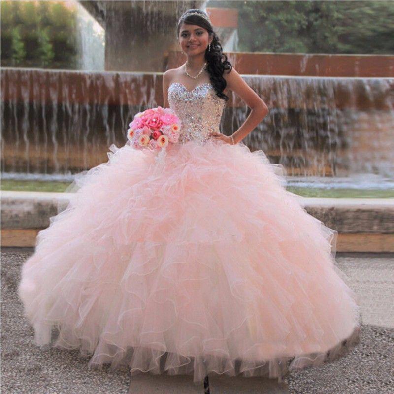Pas cher Princesse 16 Année Rose Quinceanera Robe 2017 Robes de ...