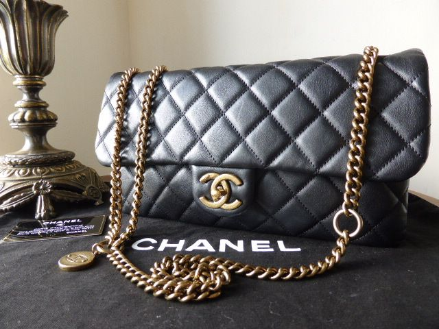 b079eb516960 Chanel Crown Flap Bag in Black Calfskin with Aged Gold Hardware  gt  http