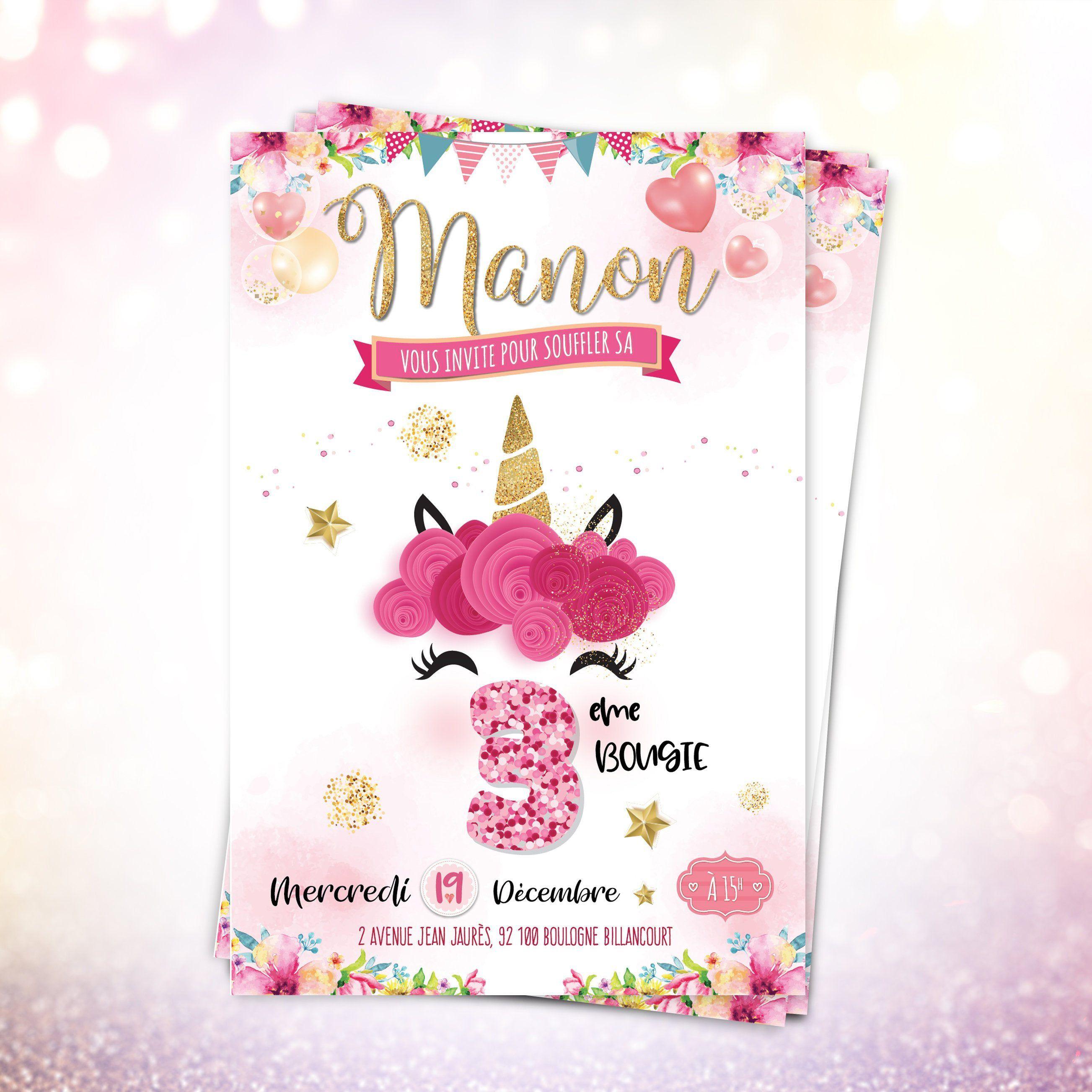Invitation anniversaire fille - Licorne - Carton invitation enfant - Carte Invitation ...