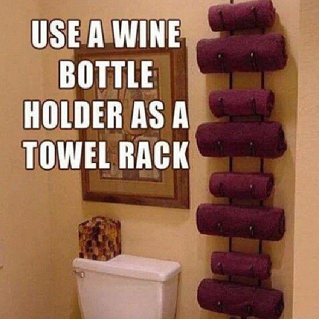 Cool idea!! #towelrack #winerack #crafty #greatidea #homedecorating #bathroom #winebottleholder #creative #ValerieJTaylor #TheTayloredLife