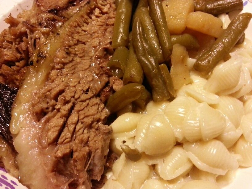 Beef Brisket,  Shells and Cheese,  Green Beans and Potatoes... I made it!