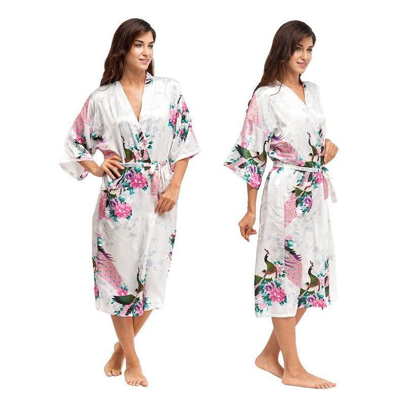 Women Satin Robe Kimono Dress Gown Wedding Lingerie Bridesmaid ...