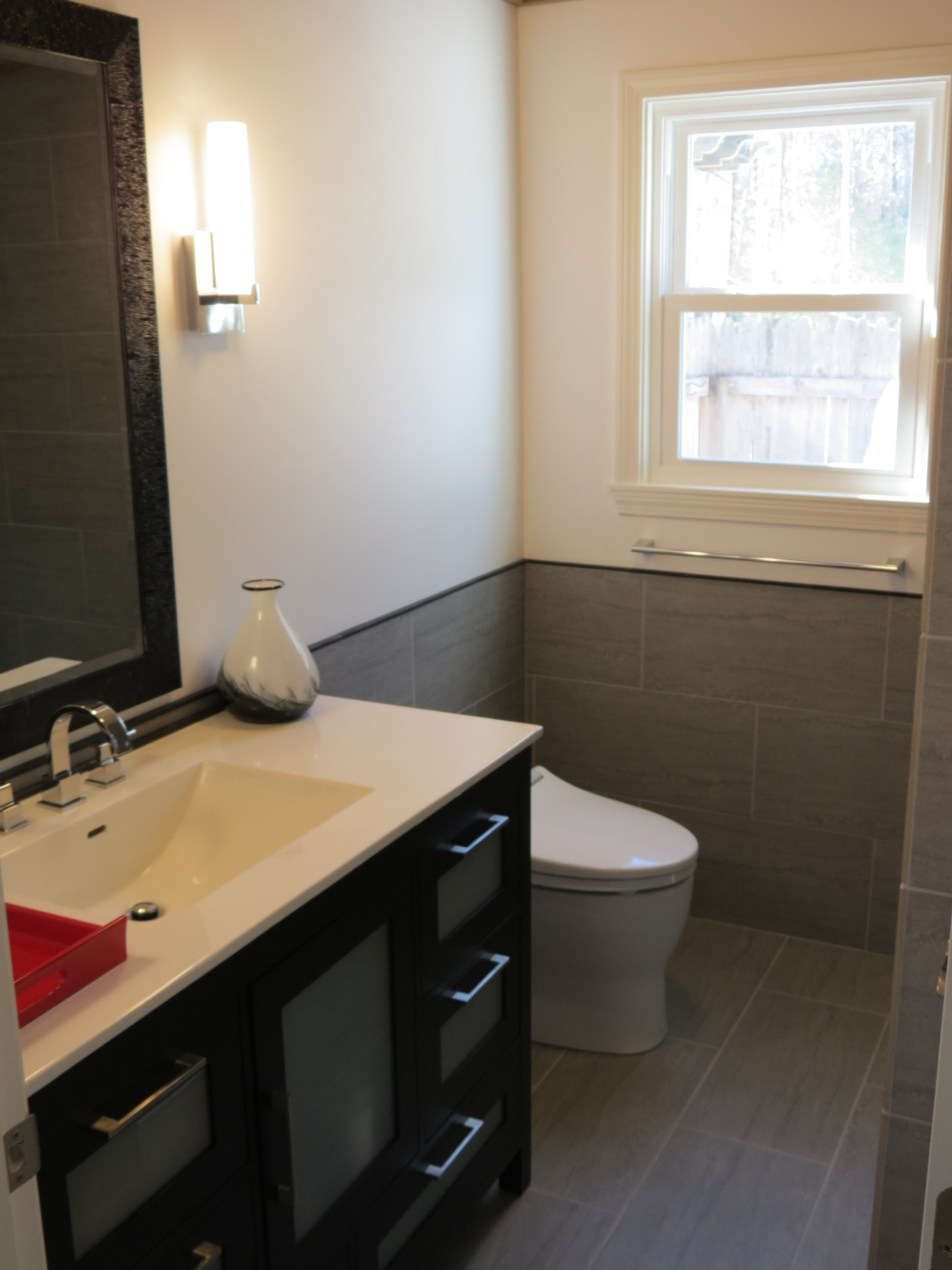 Tiled Bathroom Half Wall february 2013 - bathroom reno - ronbow vanity, toto toilet, delta