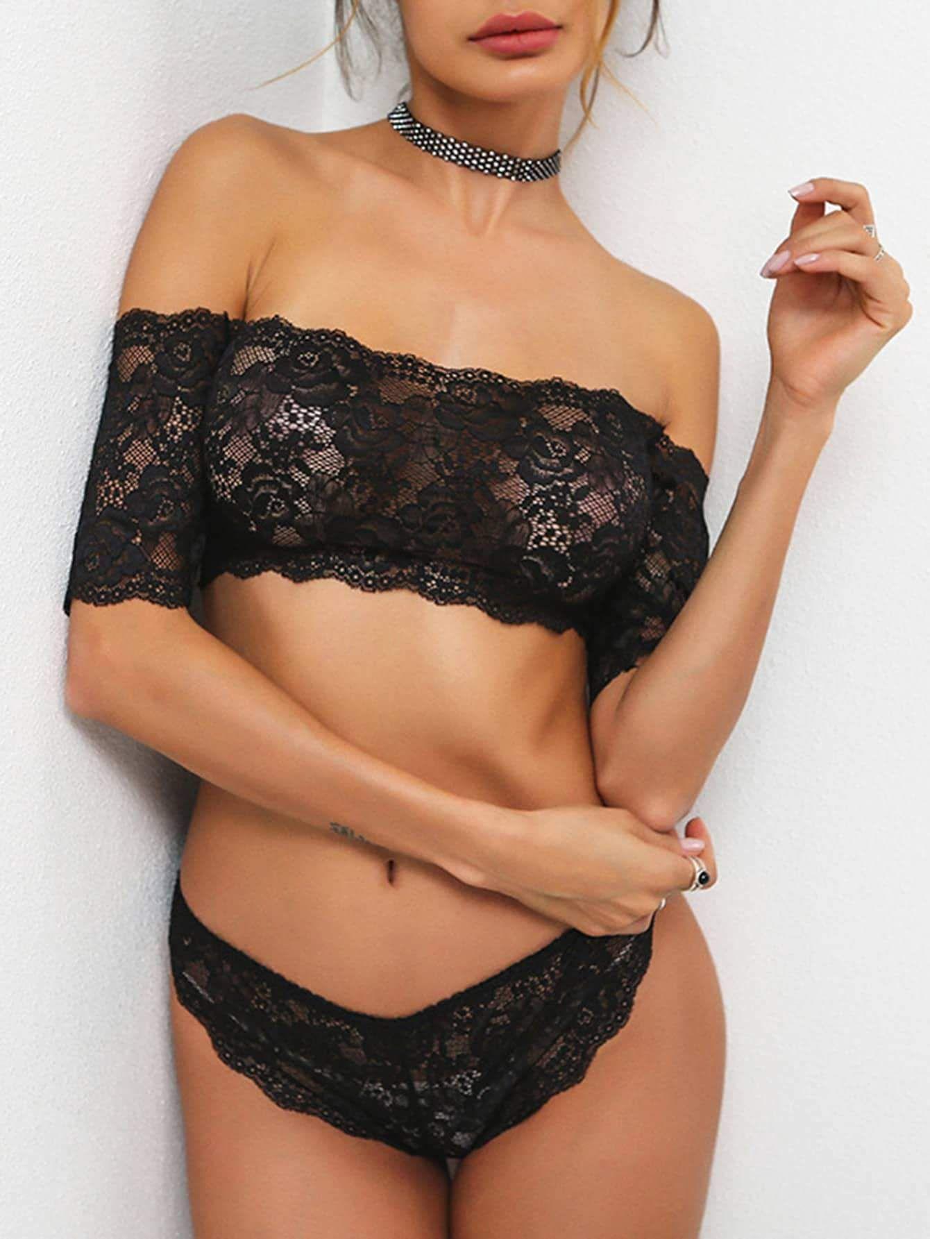 65d18e32f9 scallop trim bardot lace bandeau set.  lingerie  lingerieloungewear  women   fashion