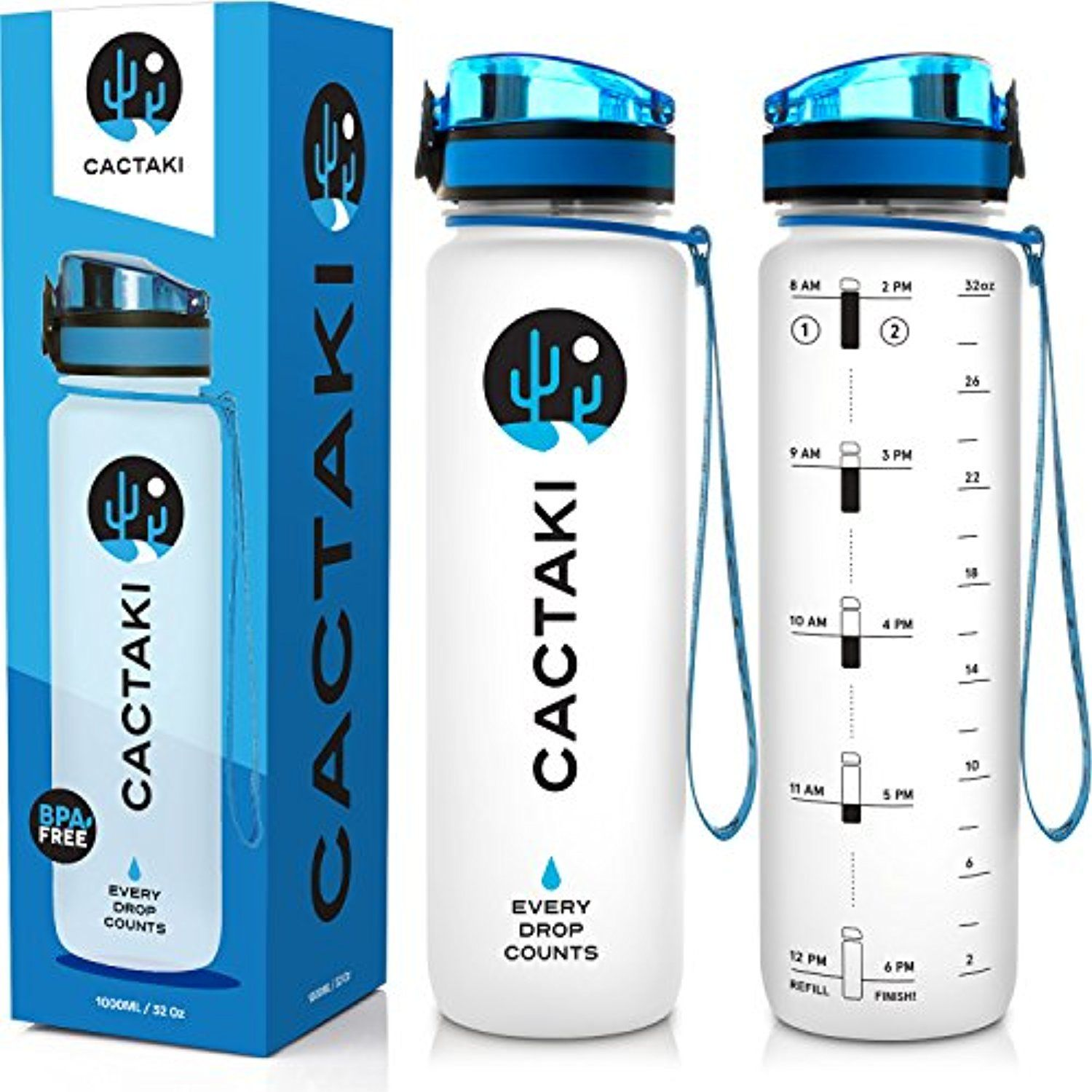 Cactaki Sports Water Bottle With Time Marker 1 Liter 32 Ounce Large Bpa Free Flip Top Leakproof An Bpa Free Water Bottles Water Bottle Free Water Bottle