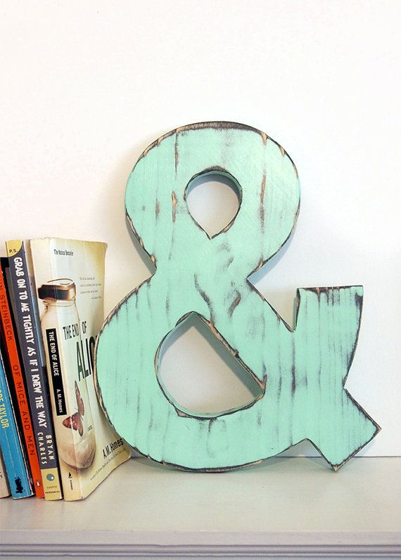 Ampersand Wall Decor wooden ampersand (pictured in mint) pine wood sign wall decor