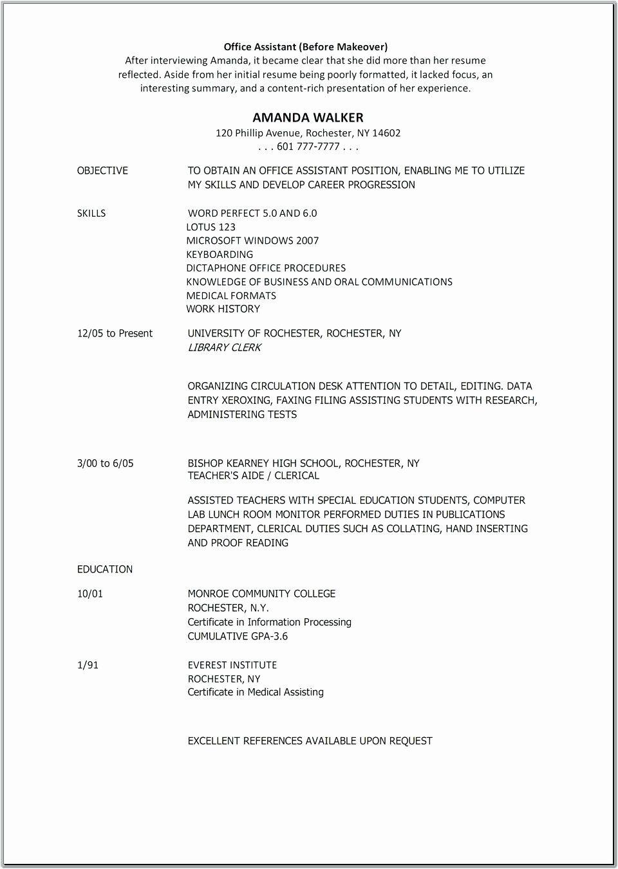 Medical Office assistant Job Description Resume Elegant 10