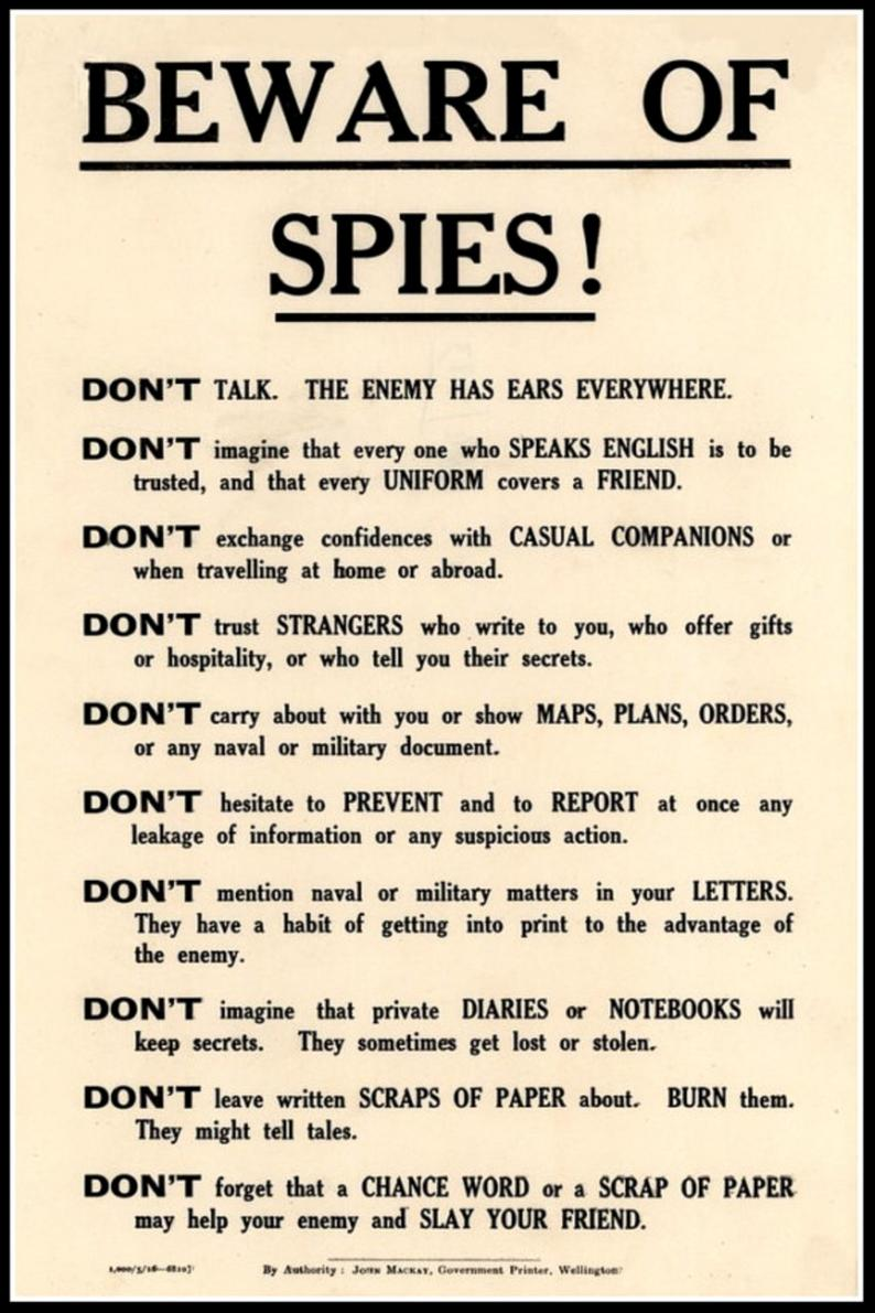 Beware of Spies Government Security Notice WWI Print Poster