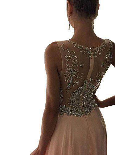 Lovelybride Women's A Line Appliques Beaded Long Chiffon Prom Evening Dress